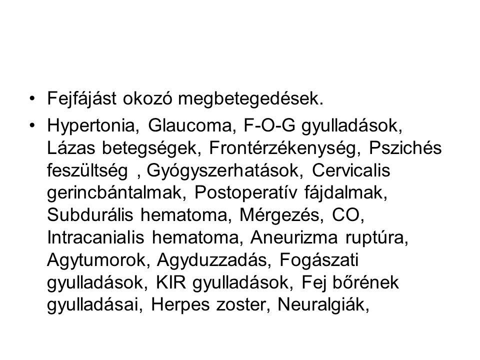 Fejfájást okozó megbetegedések. Hypertonia, Glaucoma, F-O-G gyulladások, Lázas betegségek, Frontérzékenység, Pszichés feszültség, Gyógyszerhatások, Ce