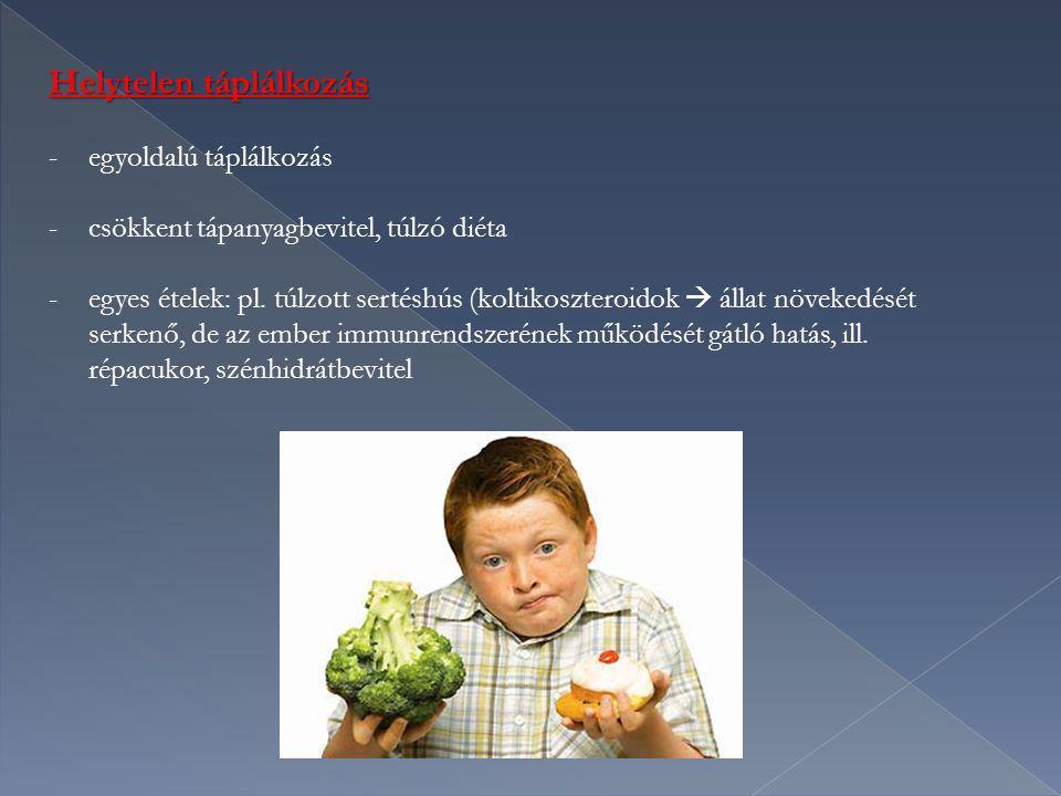 Helytelen táplálkozás -egyoldalú táplálkozás -csökkent tápanyagbevitel, túlzó diéta -egyes ételek: pl. túlzott sertéshús (koltikoszteroidok  állat nö
