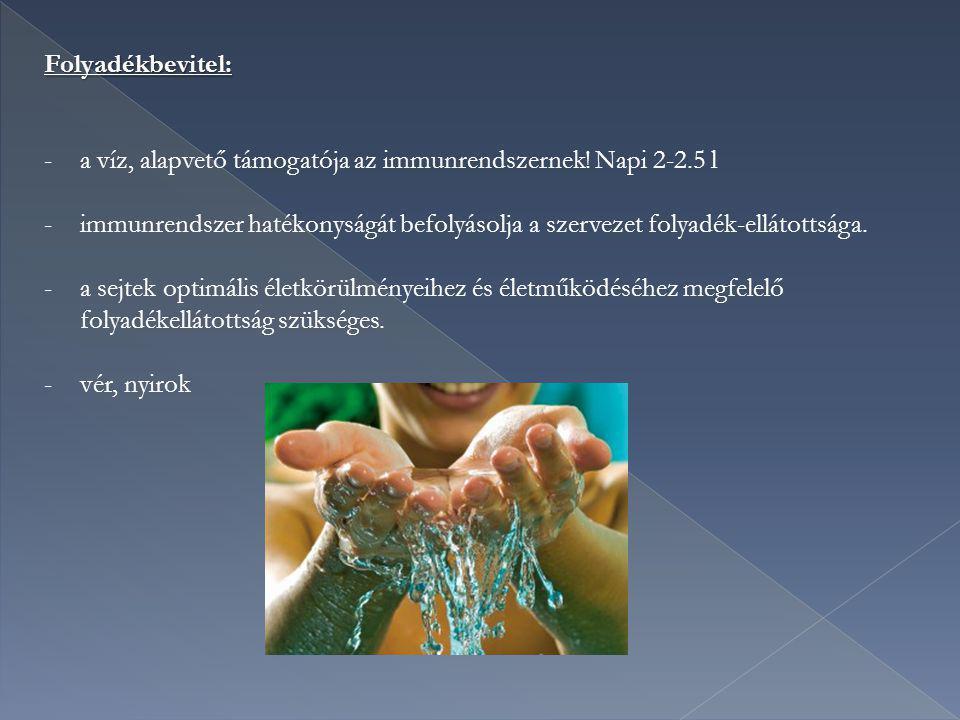 Folyadékbevitel: -a víz, alapvető támogatója az immunrendszernek! Napi 2-2.5 l -immunrendszer hatékonyságát befolyásolja a szervezet folyadék-ellátott