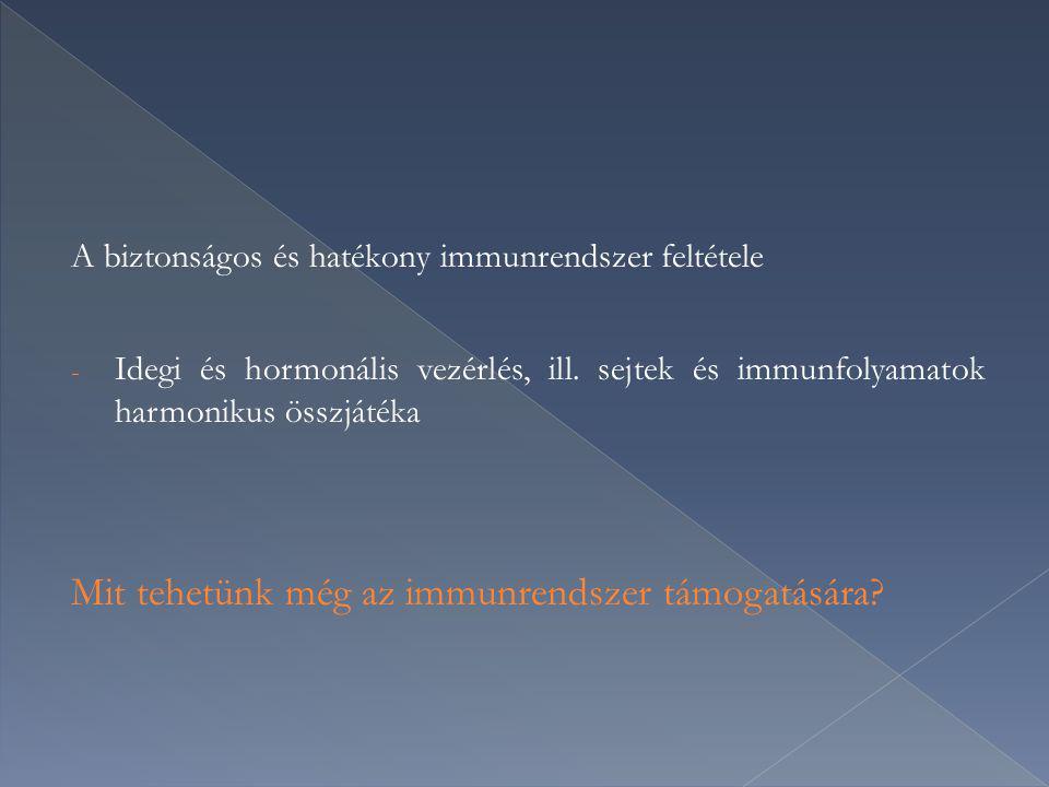 A biztonságos és hatékony immunrendszer feltétele - Idegi és hormonális vezérlés, ill. sejtek és immunfolyamatok harmonikus összjátéka Mit tehetünk mé