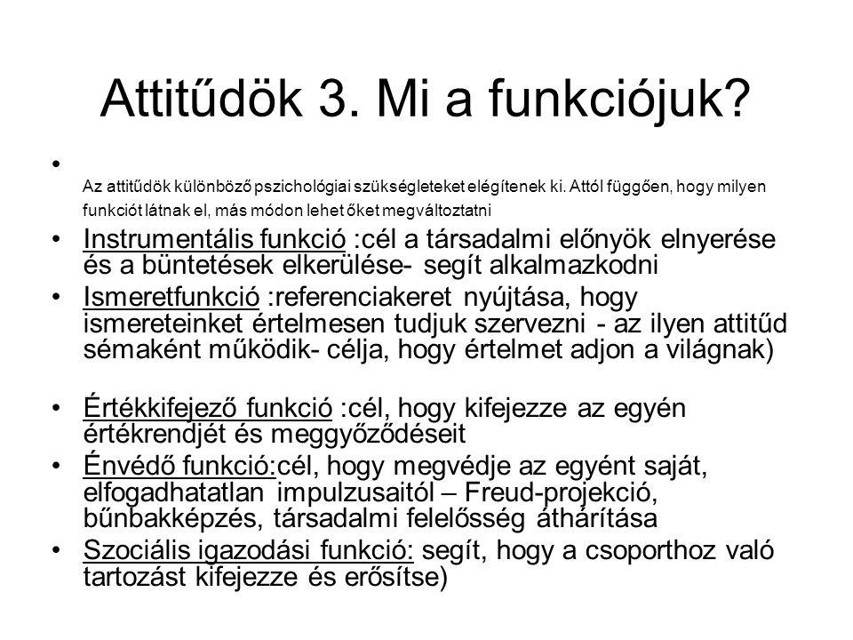 Attitűdök 3.Mi a funkciójuk. Az attitűdök különböző pszichológiai szükségleteket elégítenek ki.