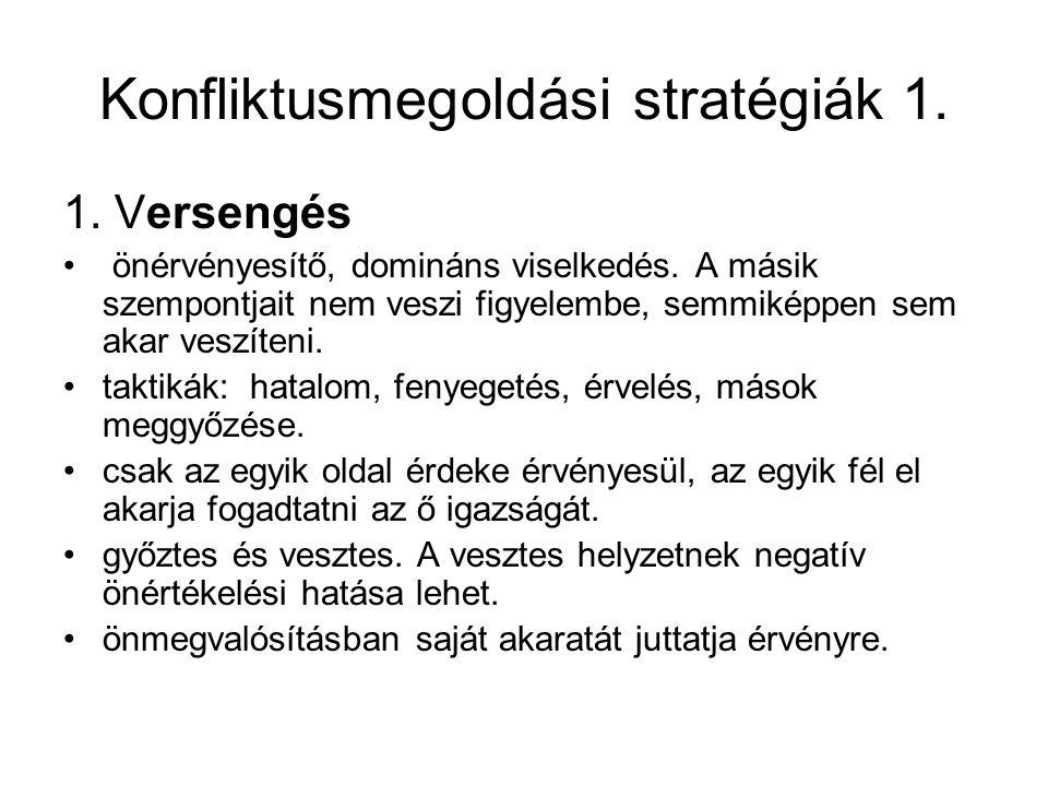 Konfliktusmegoldási stratégiák 1.1. Versengés önérvényesítő, domináns viselkedés.