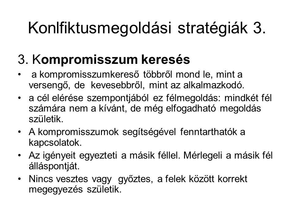 Konlfiktusmegoldási stratégiák 3.3.