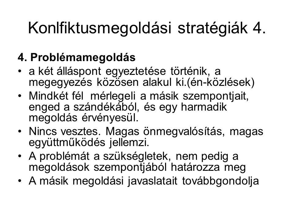 Konlfiktusmegoldási stratégiák 4.4.