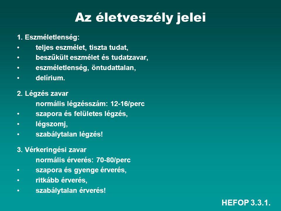 HEFOP 3.3.1. Az életveszély jelei 1. Eszméletlenség: teljes eszmélet, tiszta tudat, beszűkült eszmélet és tudatzavar, eszméletlenség, öntudattalan, de
