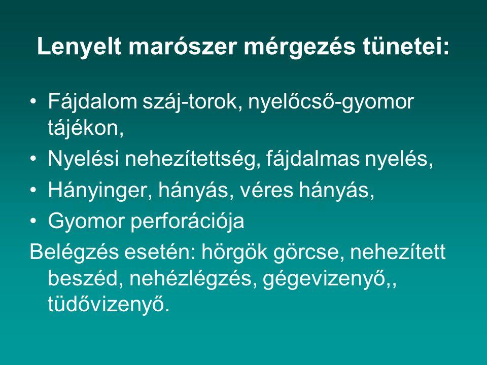 Lenyelt marószer mérgezés tünetei: Fájdalom száj-torok, nyelőcső-gyomor tájékon, Nyelési nehezítettség, fájdalmas nyelés, Hányinger, hányás, véres hán