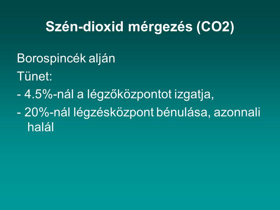 Szén-dioxid mérgezés (CO2) Borospincék alján Tünet: - 4.5%-nál a légzőközpontot izgatja, - 20%-nál légzésközpont bénulása, azonnali halál