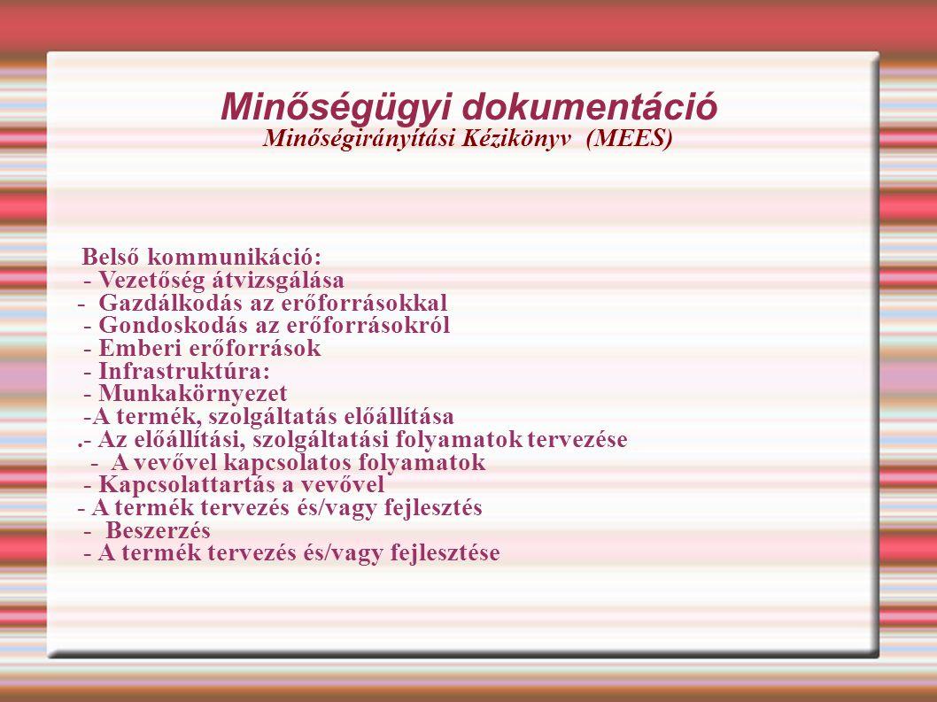 Minőségügyi dokumentáció Minőségirányítási Kézikönyv (MEES) Belső kommunikáció: - Vezetőség átvizsgálása - Gazdálkodás az erőforrásokkal - Gondoskodá