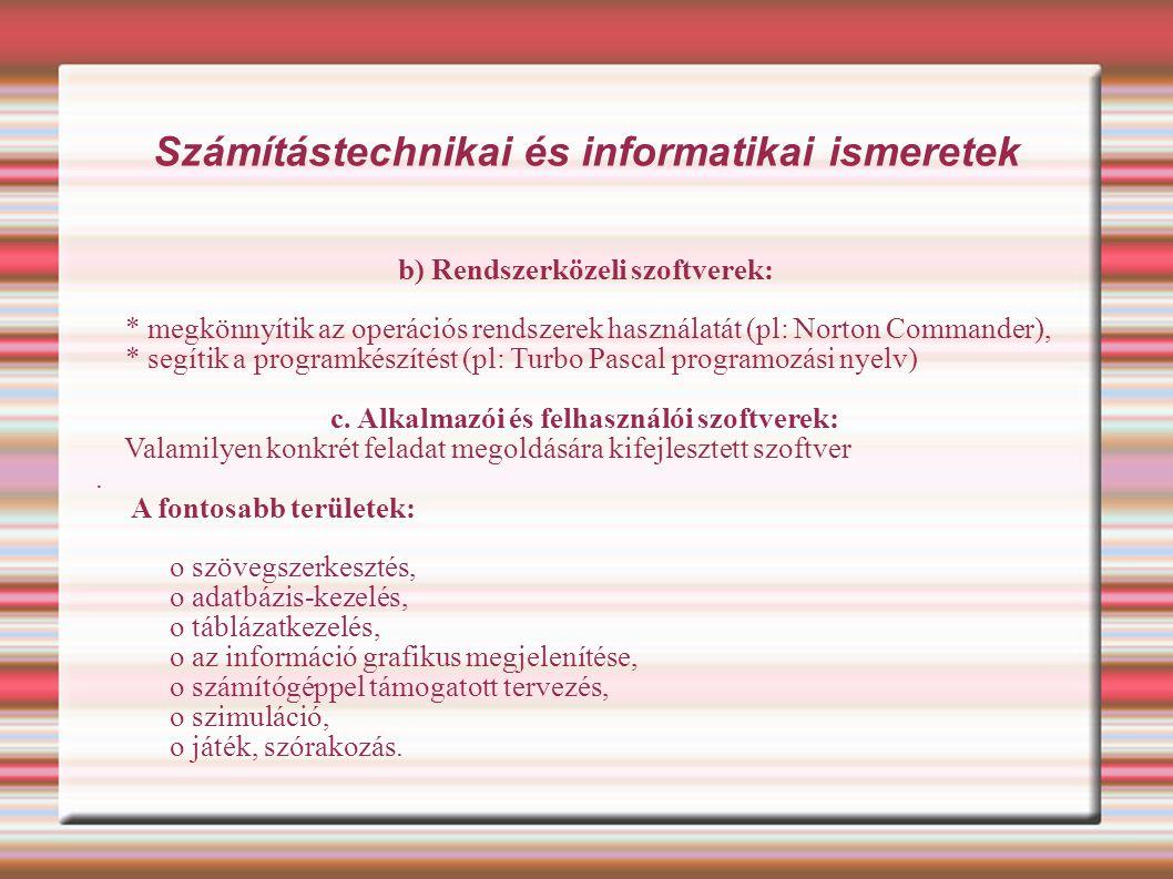 Számítástechnikai és informatikai ismeretek Amit tudni kell az informatikáról http://www.ujhelyi.sulinet.hu/x3/c3/keret.htm