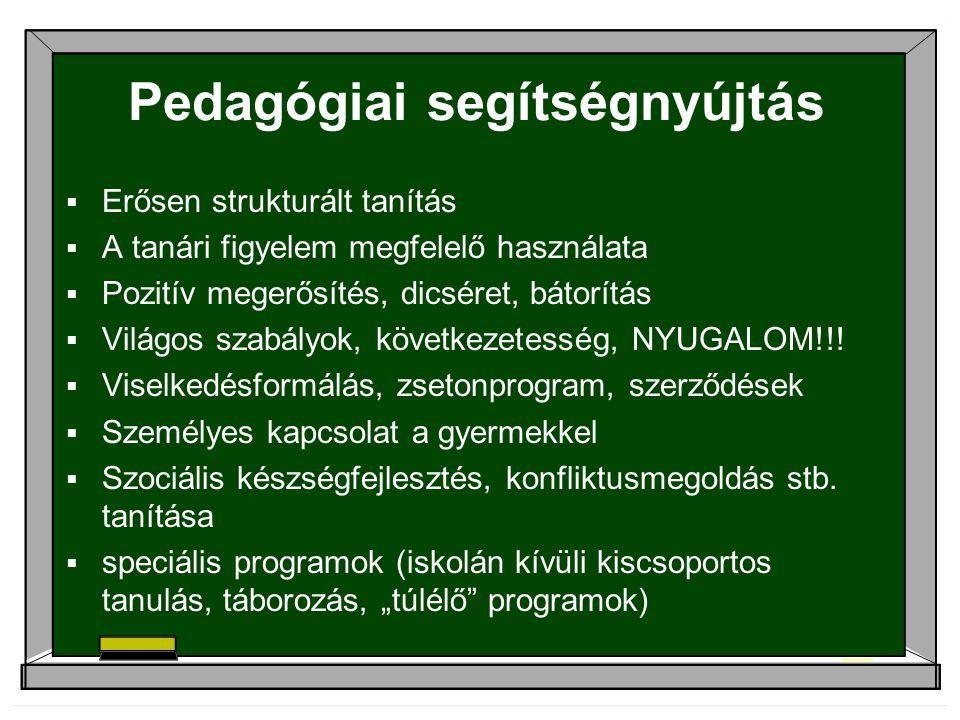 Pedagógiai segítségnyújtás  Erősen strukturált tanítás  A tanári figyelem megfelelő használata  Pozitív megerősítés, dicséret, bátorítás  Világos szabályok, következetesség, NYUGALOM!!.