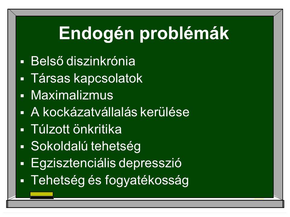Endogén problémák  Belső diszinkrónia  Társas kapcsolatok  Maximalizmus  A kockázatvállalás kerülése  Túlzott önkritika  Sokoldalú tehetség  Egzisztenciális depresszió  Tehetség és fogyatékosság