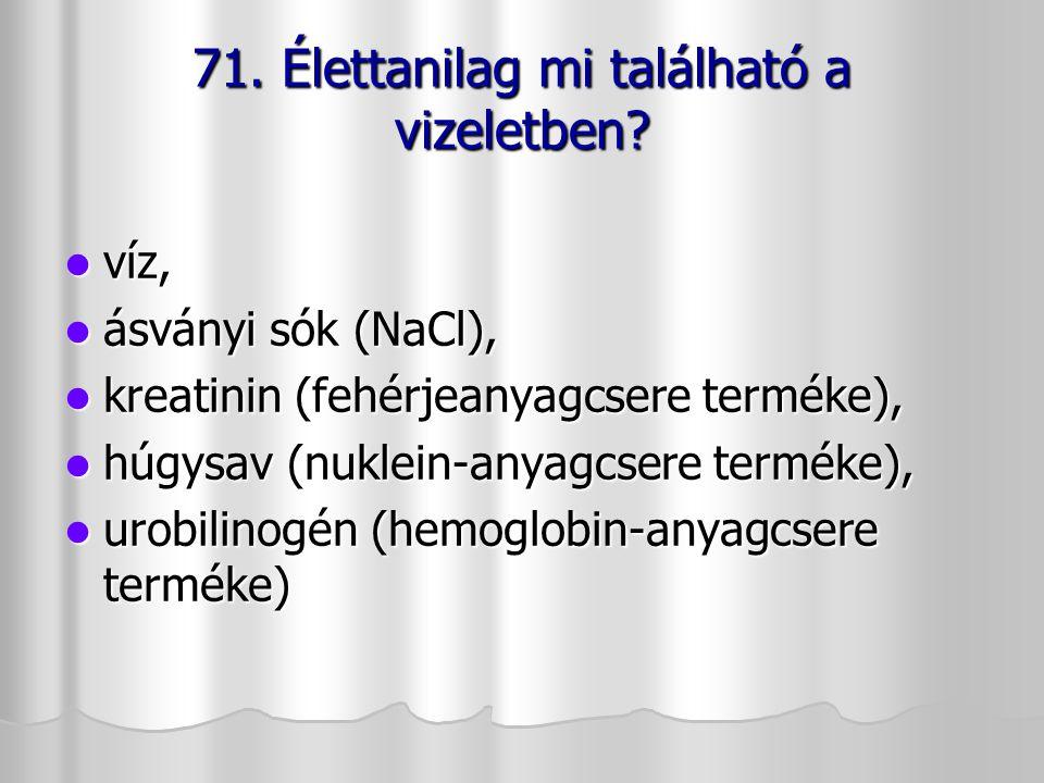 víz, víz, ásványi sók (NaCl), ásványi sók (NaCl), kreatinin (fehérjeanyagcsere terméke), kreatinin (fehérjeanyagcsere terméke), húgysav (nuklein-anyag