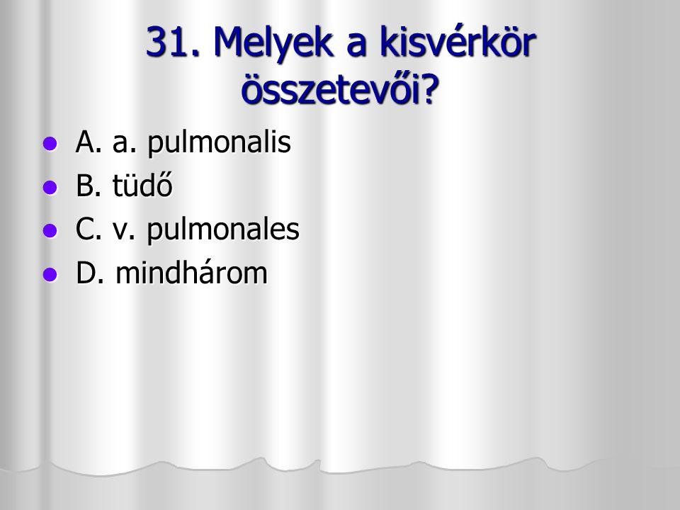 31. Melyek a kisvérkör összetevői? A. a. pulmonalis A. a. pulmonalis B. tüdő B. tüdő C. v. pulmonales C. v. pulmonales D. mindhárom D. mindhárom