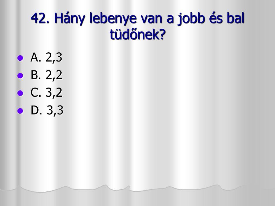 42. Hány lebenye van a jobb és bal tüdőnek? A. 2,3 A. 2,3 B. 2,2 B. 2,2 C. 3,2 C. 3,2 D. 3,3 D. 3,3
