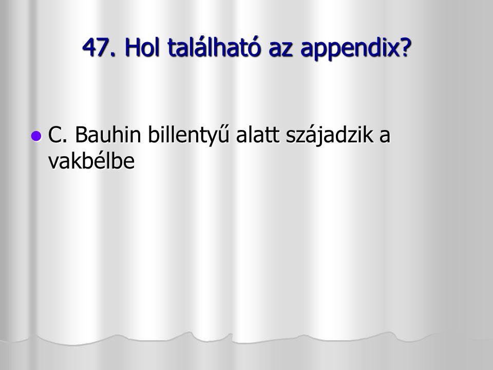 47. Hol található az appendix? C. Bauhin billentyű alatt szájadzik a vakbélbe C. Bauhin billentyű alatt szájadzik a vakbélbe