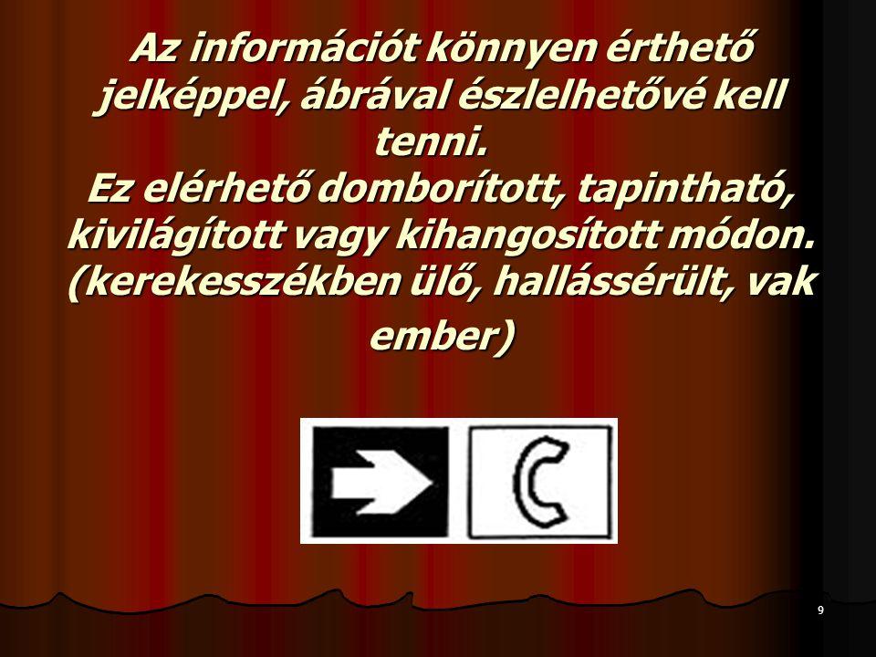 9 Az információt könnyen érthető jelképpel, ábrával észlelhetővé kell tenni.