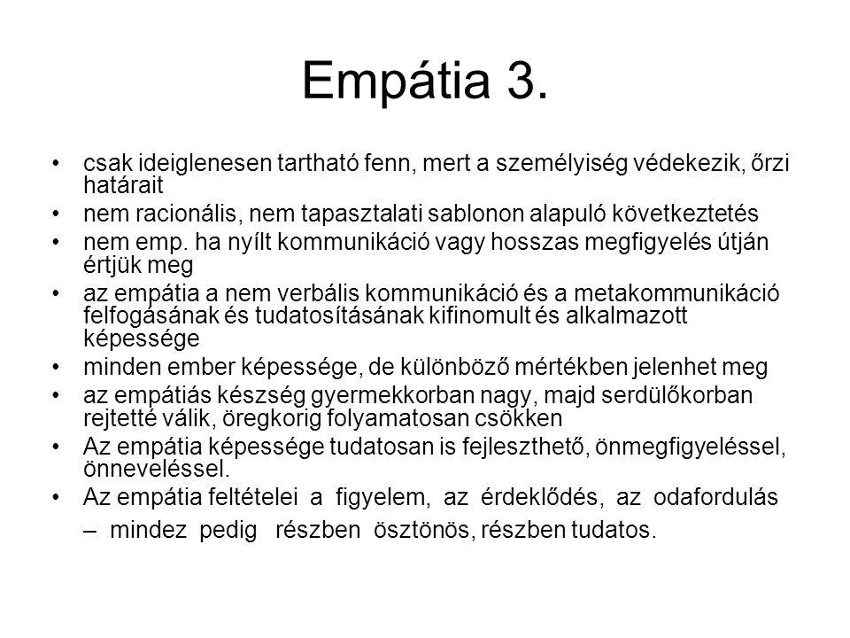 Empátia 3. csak ideiglenesen tartható fenn, mert a személyiség védekezik, őrzi határait nem racionális, nem tapasztalati sablonon alapuló következteté