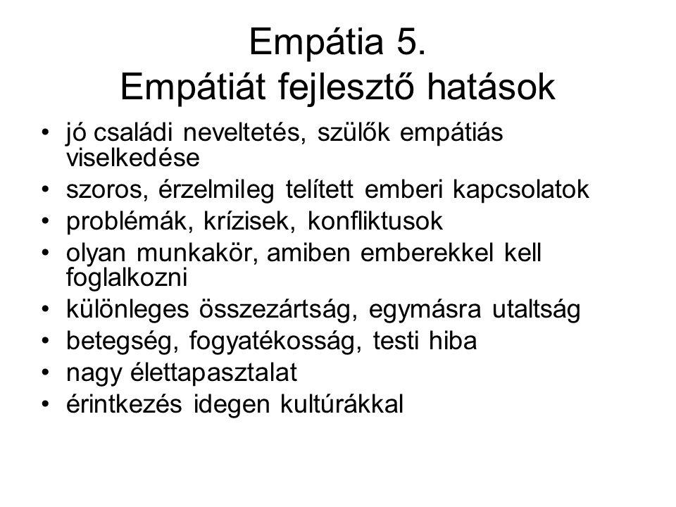Empátia 5. Empátiát fejlesztő hatások jó családi neveltetés, szülők empátiás viselkedése szoros, érzelmileg telített emberi kapcsolatok problémák, krí