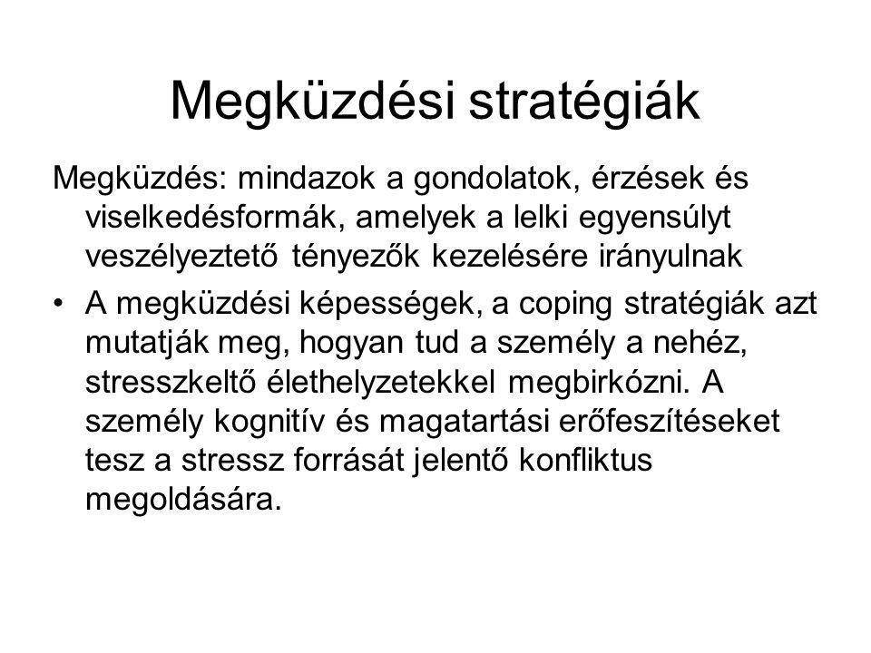 Megküzdési stratégiák Megküzdés: mindazok a gondolatok, érzések és viselkedésformák, amelyek a lelki egyensúlyt veszélyeztető tényezők kezelésére irán