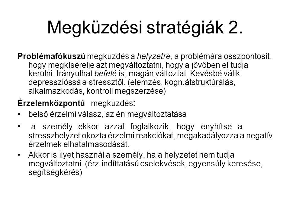Megküzdési stratégiák 2. Problémafókuszú megküzdés a helyzetre, a problémára összpontosít, hogy megkísérelje azt megváltoztatni, hogy a jövőben el tud