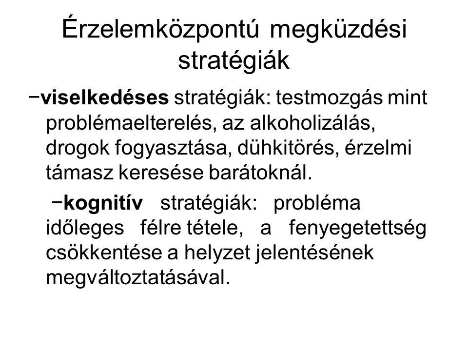 Érzelemközpontú megküzdési stratégiák −viselkedéses stratégiák: testmozgás mint problémaelterelés, az alkoholizálás, drogok fogyasztása, dühkitörés, é