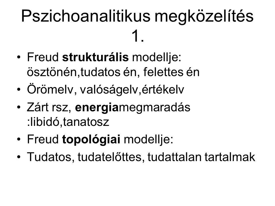 Pszichoanalitikus megközelítés 1. Freud strukturális modellje: ösztönén,tudatos én, felettes én Örömelv, valóságelv,értékelv Zárt rsz, energiamegmarad