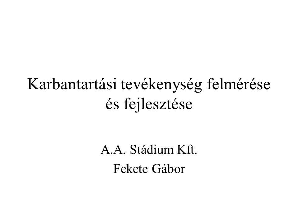 Karbantartási tevékenység felmérése és fejlesztése A.A. Stádium Kft. Fekete Gábor