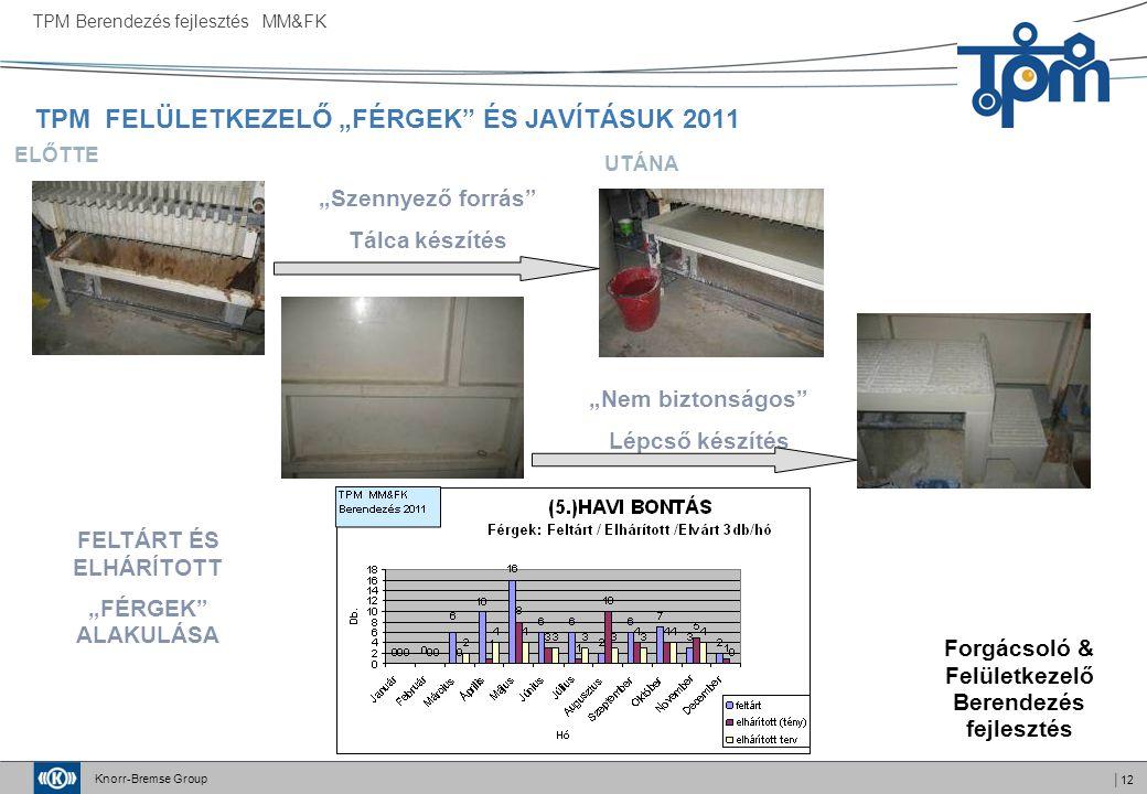 """Knorr-Bremse Group │12 TPM Berendezés fejlesztés MM&FK TPM FELÜLETKEZELŐ """"FÉRGEK ÉS JAVÍTÁSUK 2011 ELŐTTE UTÁNA """"Szennyező forrás Tálca készítés """"Nem biztonságos Lépcső készítés FELTÁRT ÉS ELHÁRÍTOTT """"FÉRGEK ALAKULÁSA Forgácsoló & Felületkezelő Berendezés fejlesztés"""