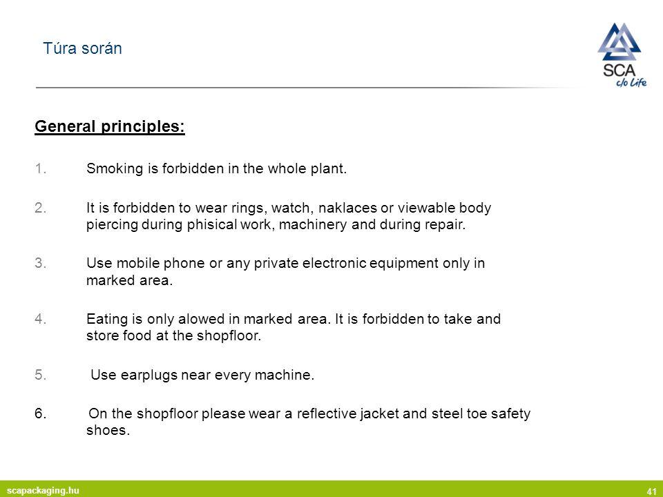 scapackaging.hu 41 Túra során General principles: 1.Smoking is forbidden in the whole plant.
