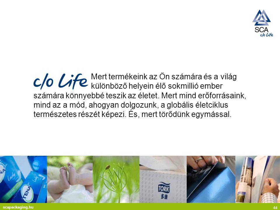 scapackaging.hu 44 Mert termékeink az Ön számára és a világ különböző helyein élő sokmillió ember számára könnyebbé teszik az életet.
