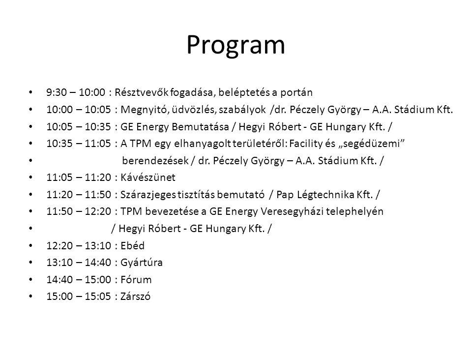Program 9:30 – 10:00 : Résztvevők fogadása, beléptetés a portán 10:00 – 10:05 : Megnyitó, üdvözlés, szabályok /dr. Péczely György – A.A. Stádium Kft.