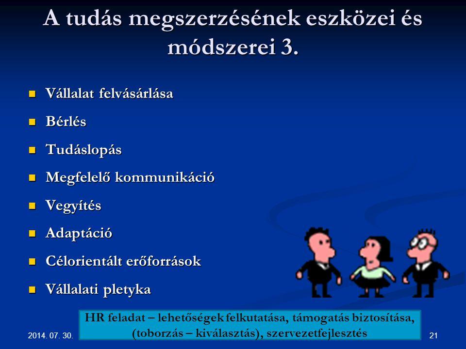 2014.07. 30. 21 A tudás megszerzésének eszközei és módszerei 3.