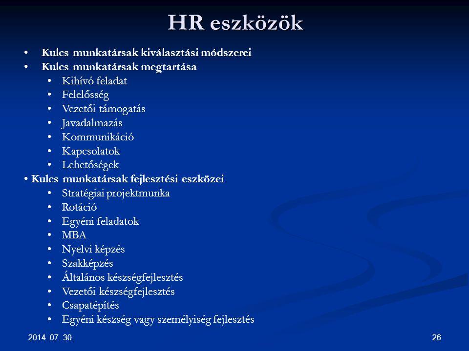 HR eszközök 2014.07. 30.