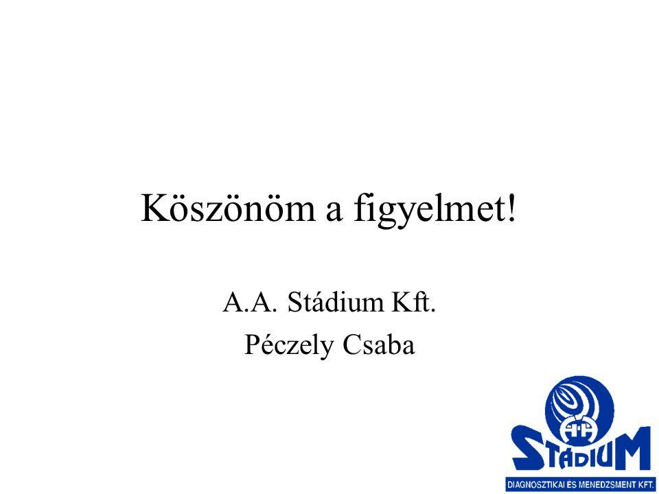 Köszönöm a figyelmet! A.A. Stádium Kft. Péczely Csaba