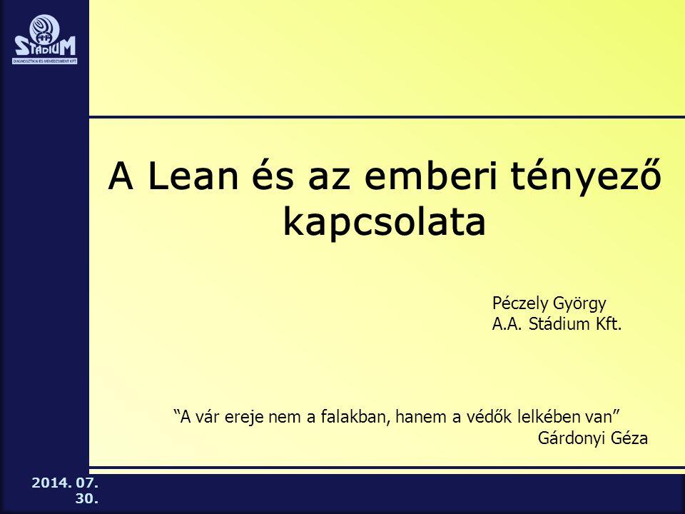 2014. 07. 30. Az Önök vállalatai közül hol zajlik Lean bevezetés?