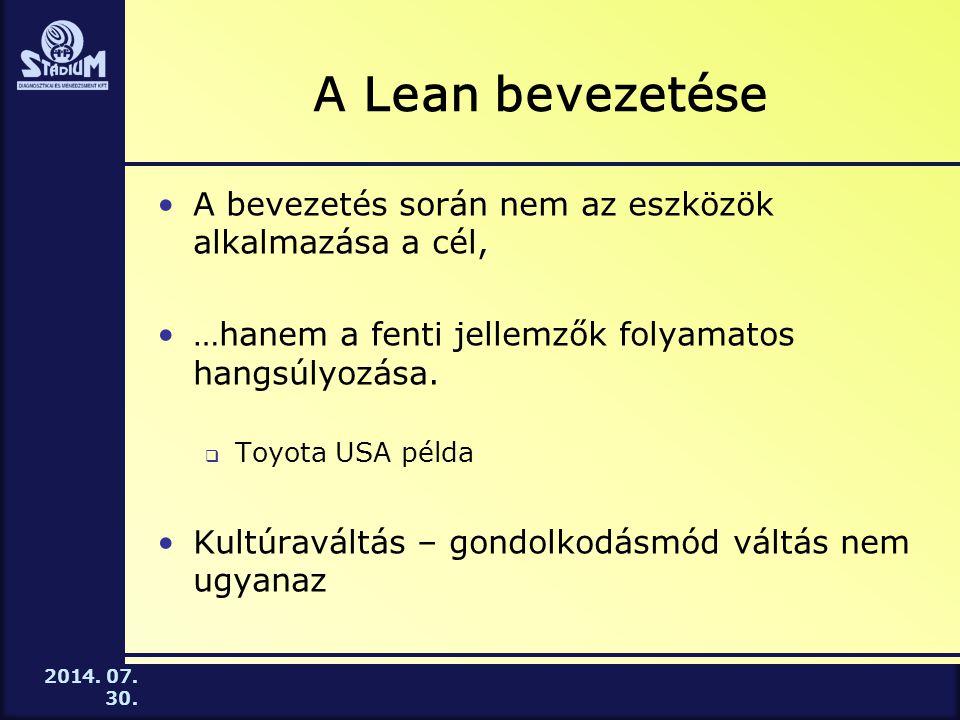 2014. 07. 30. A Lean bevezetése A bevezetés során nem az eszközök alkalmazása a cél, …hanem a fenti jellemzők folyamatos hangsúlyozása.  Toyota USA p