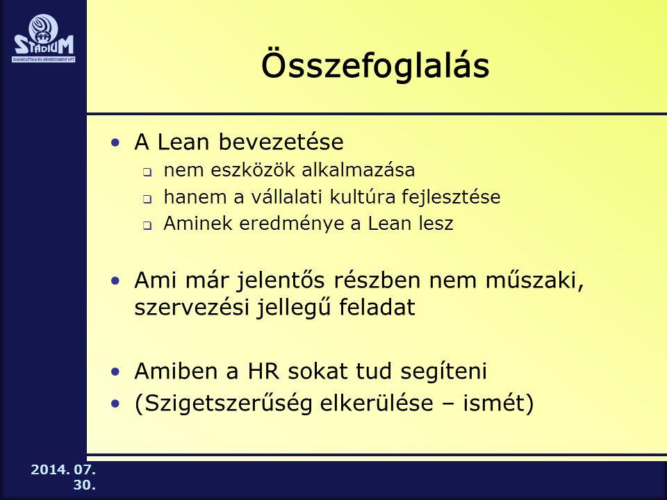 2014. 07. 30. Összefoglalás A Lean bevezetése  nem eszközök alkalmazása  hanem a vállalati kultúra fejlesztése  Aminek eredménye a Lean lesz Ami má