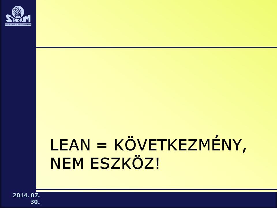 2014. 07. 30. LEAN = KÖVETKEZMÉNY, NEM ESZKÖZ!
