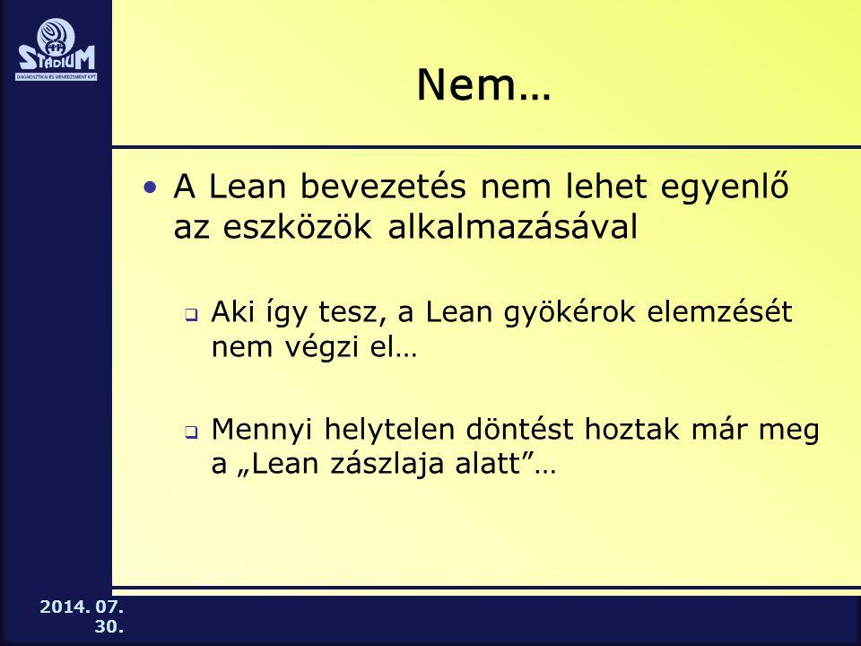 2014. 07. 30. Nem… A Lean bevezetés nem lehet egyenlő az eszközök alkalmazásával  Aki így tesz, a Lean gyökérok elemzését nem végzi el…  Mennyi hely