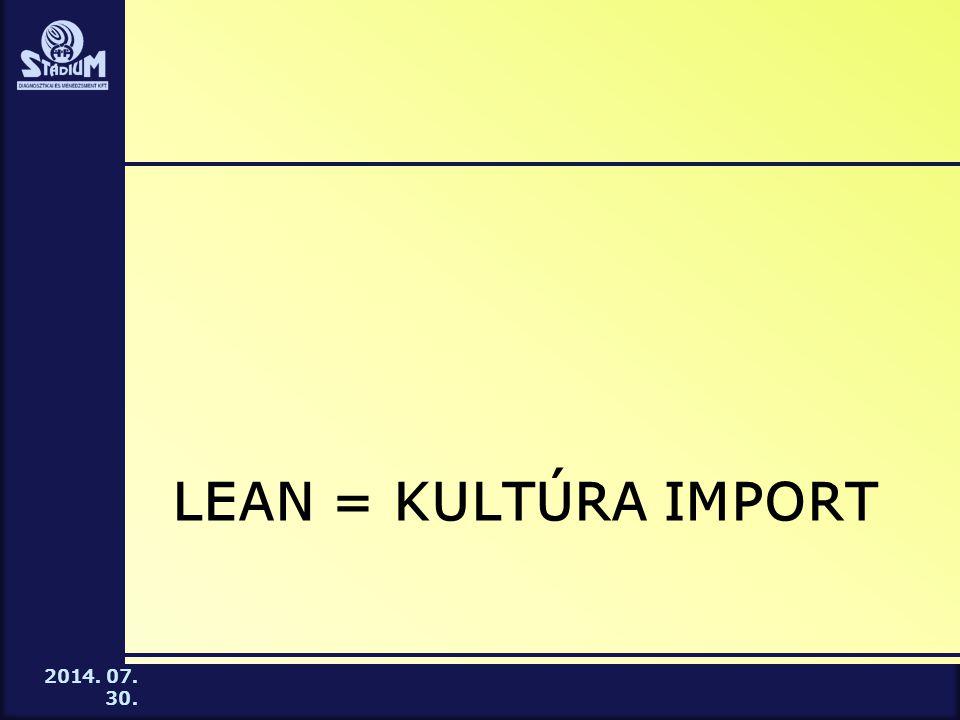 2014. 07. 30. LEAN = KULTÚRA IMPORT