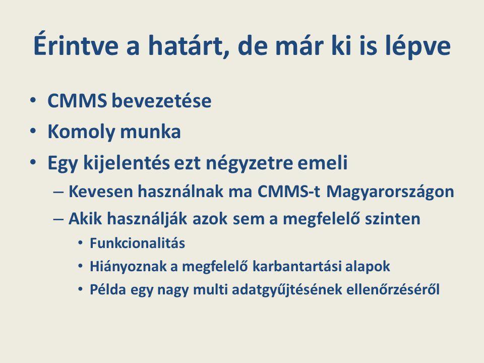 Érintve a határt, de már ki is lépve CMMS bevezetése Komoly munka Egy kijelentés ezt négyzetre emeli – Kevesen használnak ma CMMS-t Magyarországon – A