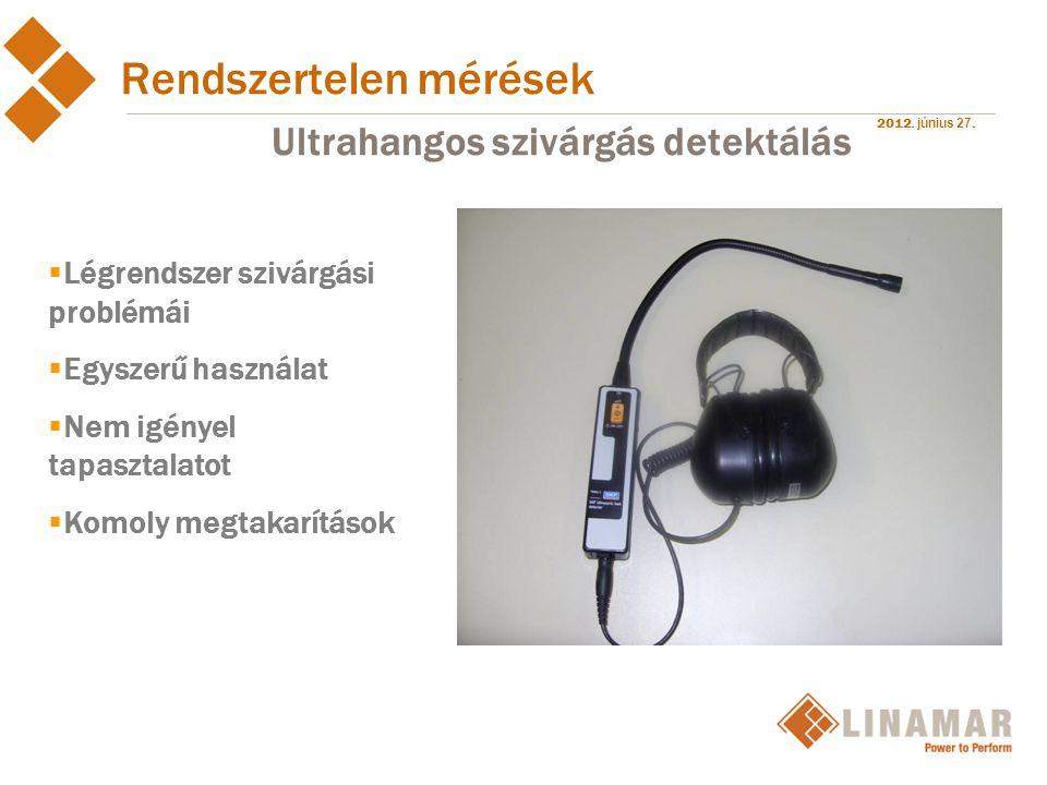 2012. június 27. Rendszertelen mérések Ultrahangos szivárgás detektálás  Légrendszer szivárgási problémái  Egyszerű használat  Nem igényel tapaszta