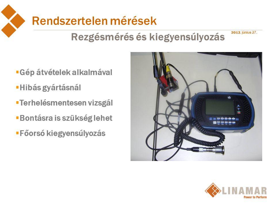 2012. június 27. Rendszertelen mérések Rezgésmérés és kiegyensúlyozás  Gép átvételek alkalmával  Hibás gyártásnál  Terhelésmentesen vizsgál  Bontá