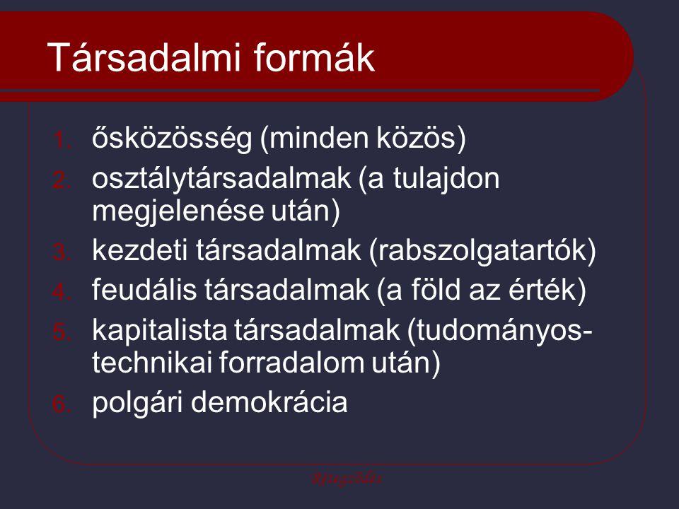 Rétegződés Társadalmi formák 1. ősközösség (minden közös) 2. osztálytársadalmak (a tulajdon megjelenése után) 3. kezdeti társadalmak (rabszolgatartók)