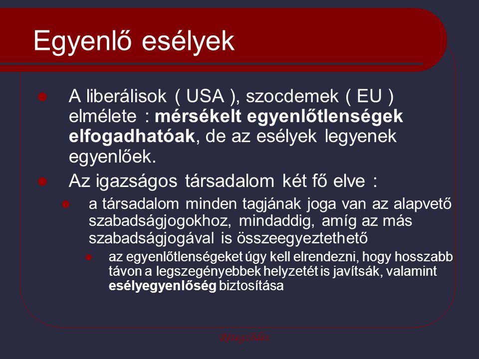 Rétegződés Egyenlő esélyek A liberálisok ( USA ), szocdemek ( EU ) elmélete : mérsékelt egyenlőtlenségek elfogadhatóak, de az esélyek legyenek egyenlőek.