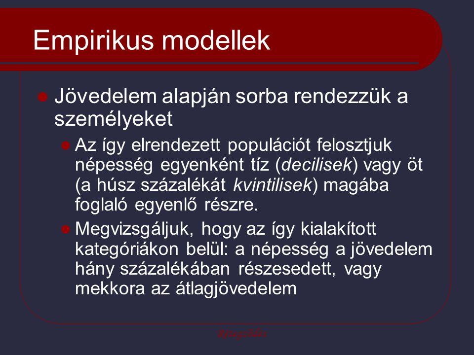 Rétegződés Empirikus modellek Jövedelem alapján sorba rendezzük a személyeket Az így elrendezett populációt felosztjuk népesség egyenként tíz (decilisek) vagy öt (a húsz százalékát kvintilisek) magába foglaló egyenlő részre.