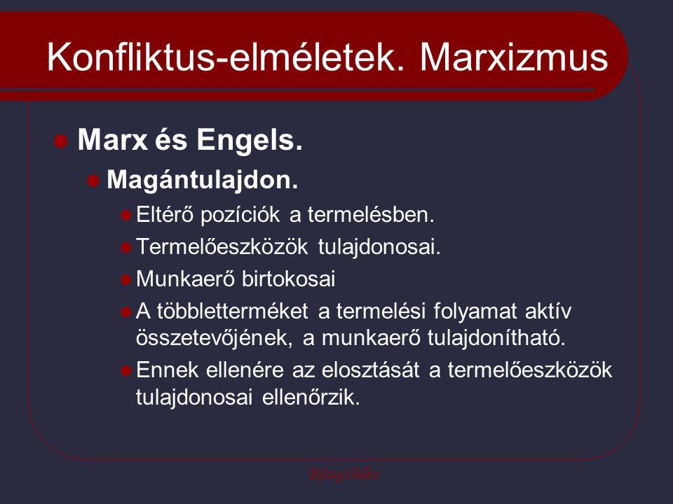 Rétegződés Konfliktus-elméletek. Marxizmus Marx és Engels. Magántulajdon. Eltérő pozíciók a termelésben. Termelőeszközök tulajdonosai. Munkaerő birtok