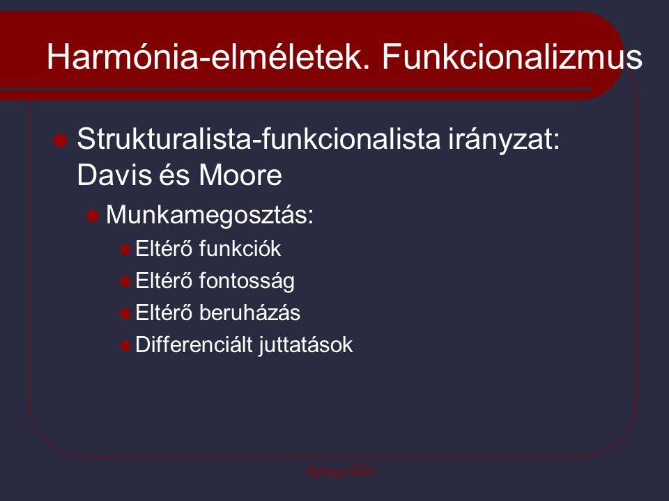Rétegződés Harmónia-elméletek. Funkcionalizmus Strukturalista-funkcionalista irányzat: Davis és Moore Munkamegosztás: Eltérő funkciók Eltérő fontosság
