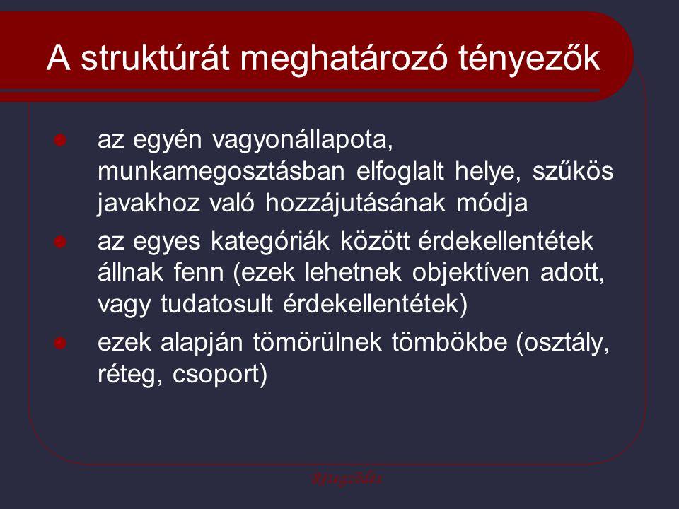 Rétegződés A struktúrát meghatározó tényezők az egyén vagyonállapota, munkamegosztásban elfoglalt helye, szűkös javakhoz való hozzájutásának módja az egyes kategóriák között érdekellentétek állnak fenn (ezek lehetnek objektíven adott, vagy tudatosult érdekellentétek) ezek alapján tömörülnek tömbökbe (osztály, réteg, csoport)