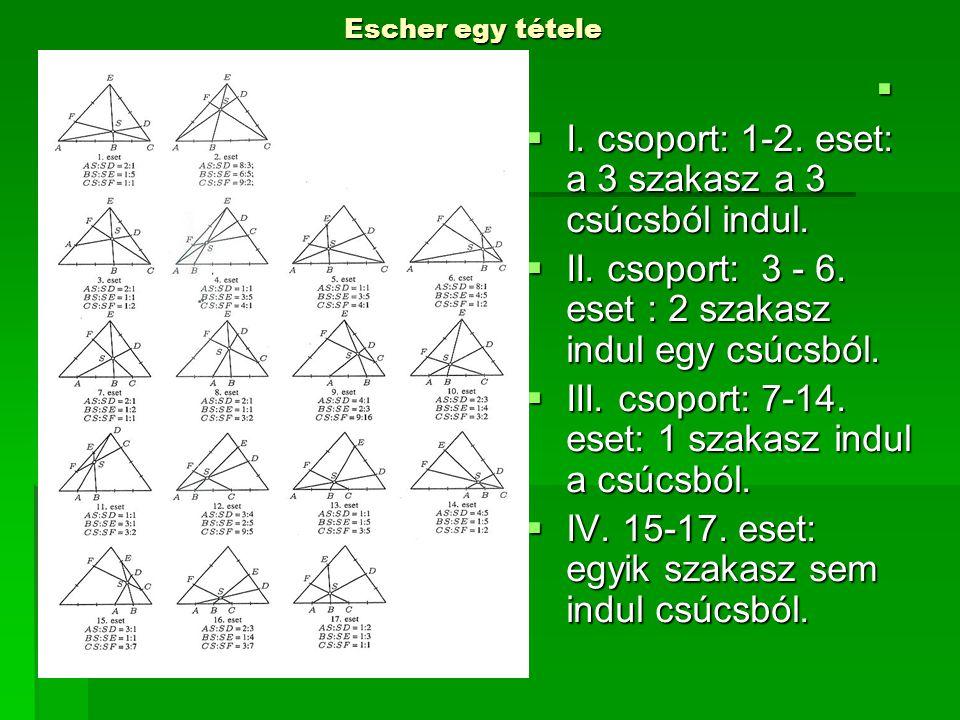   I. csoport: 1-2. eset: a 3 szakasz a 3 csúcsból indul.  II. csoport: 3 - 6. eset : 2 szakasz indul egy csúcsból.  III. csoport: 7-14. eset: 1 sz